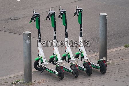 four fully loaded lime e scooters