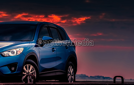 new blue suv car with sport