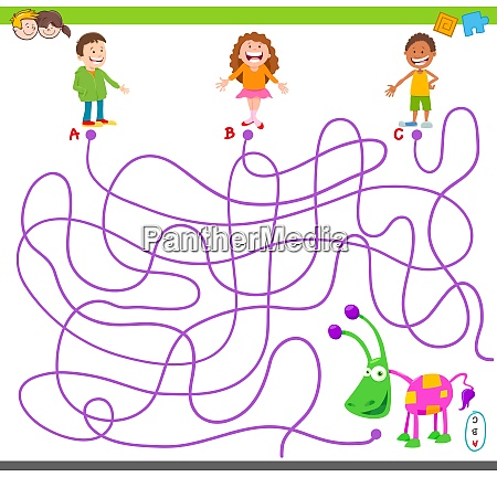 maze game with children and toy