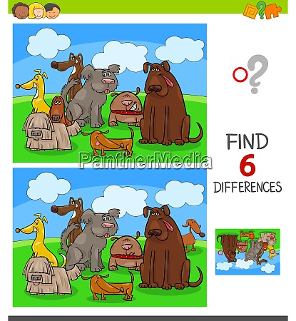 differences game with dogs animal characters