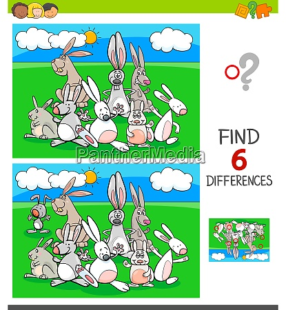 differences game with rabbits animal characters