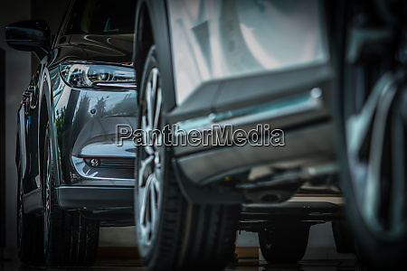 new luxury black shiny suv compact