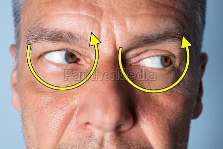 man doing shifting eye exercise