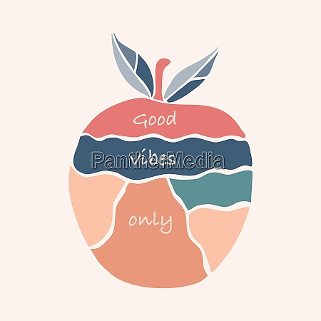 positivity messaage in a colorful apple