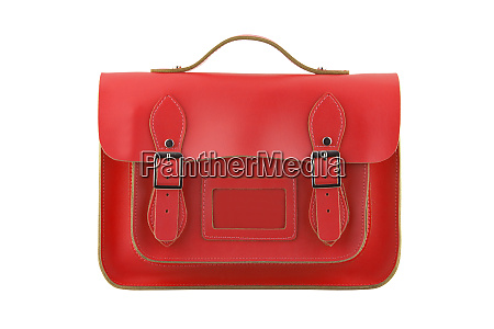 red satchel isolated on white with