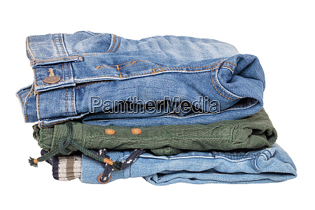 stack of jeans clothes close up