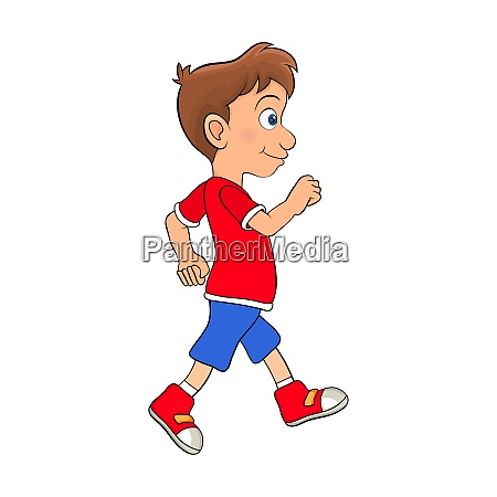 preschool boy walking cartoon design isolated
