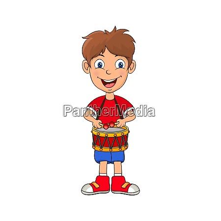 preschooler boy playing on drum cartoon