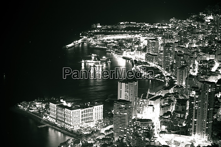 monte carlo waterfront evening black and