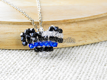 pendant heart shaped of crystals and
