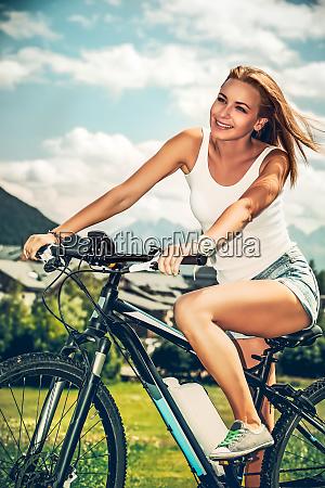 enjoying bicycle trip