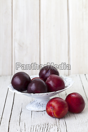 fresh plums across white background