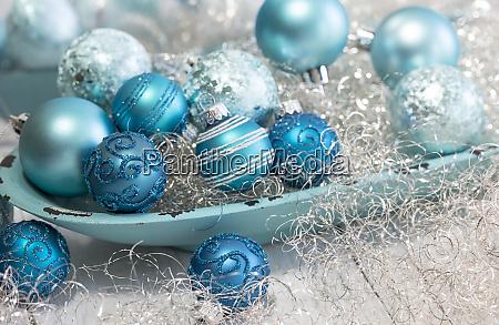 festive turquoise blue christmas ornaments