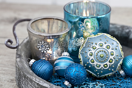 christmas decoration with candlelight in blue