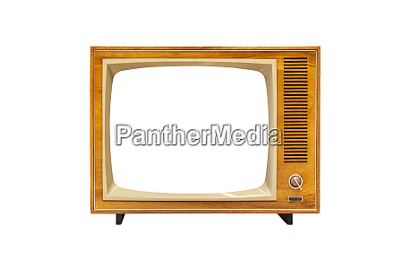 vintage analog tv set with blank