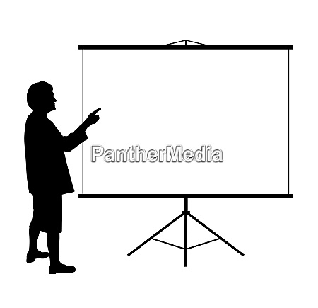 woman showing presentation on projection screen