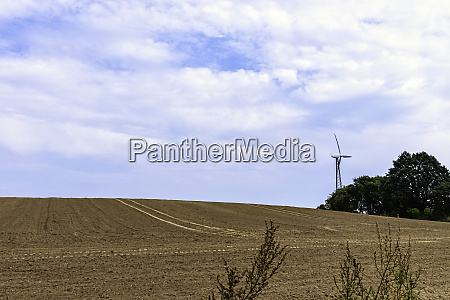 field with windmill for electric power