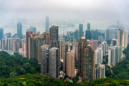 hong kong skyline in heavy smog