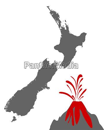 karte von neuseeland mit vulkan