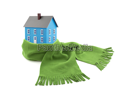 blue house wrapped in a scarf
