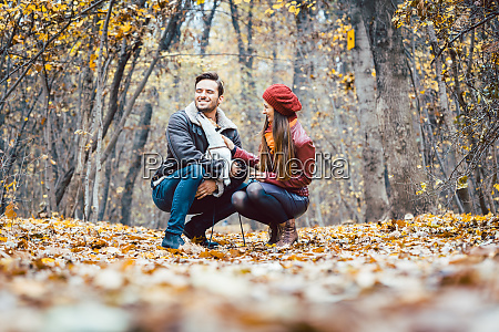 woman and man in the fall