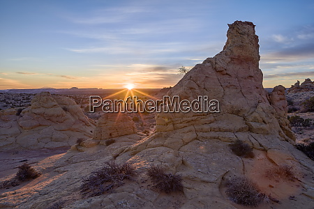 sandstone formations at first light with
