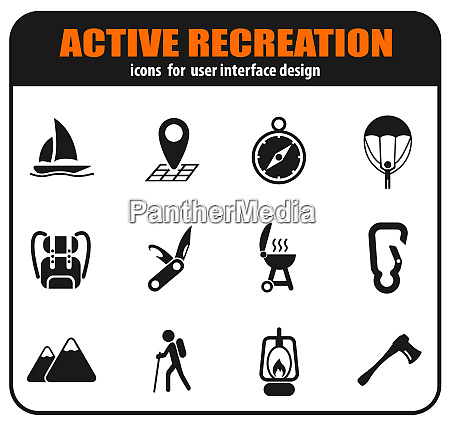 active recreation and camping icon set