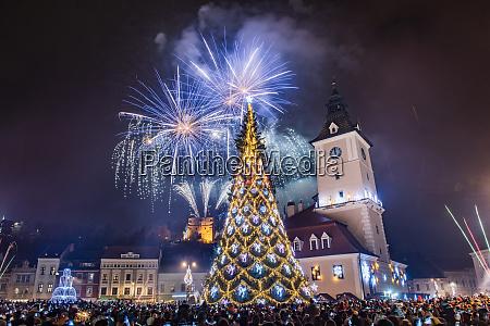 fireworks over brasov main square on