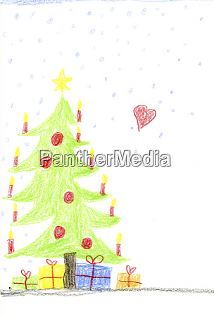 childrens drawing with decorated christmas tree