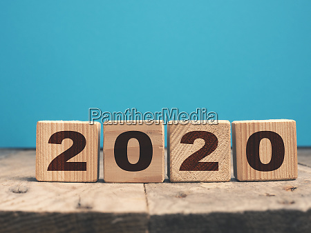 the year 2020 on wooden blocks