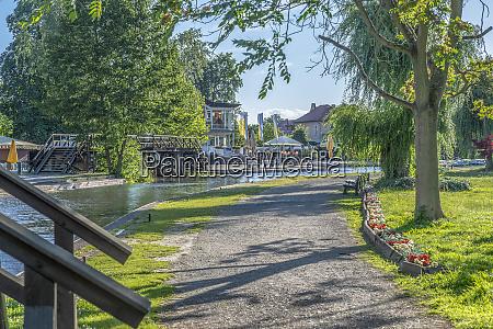germany luebbenau walkway at waterside of