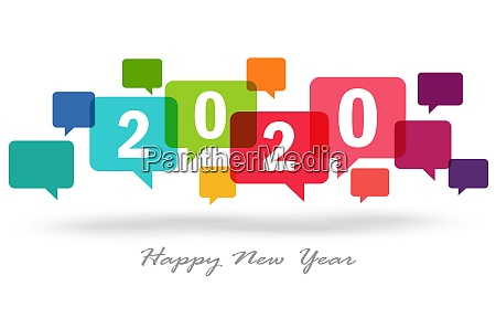 new year 2020 speech bubbles