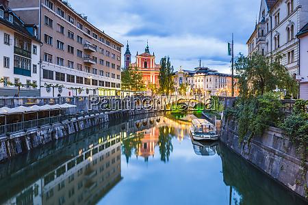 ljubljana triple bridge and the franciscan