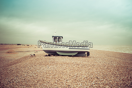 fishing boats on the shingle beach