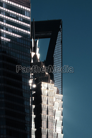 sunlight reflected off skyscrapers in pudong