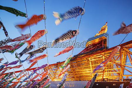 koi nobori kites tokyo tower roppongi