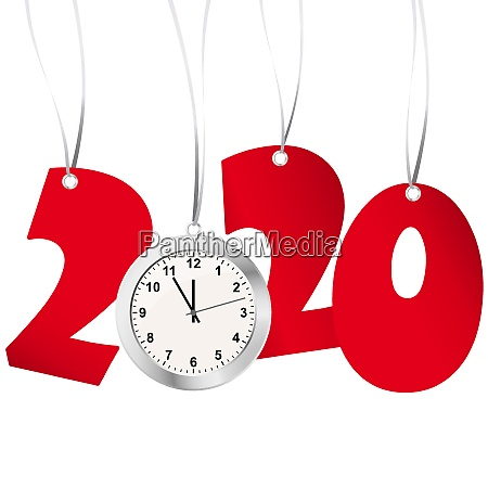 new year 2020 numbers and clock