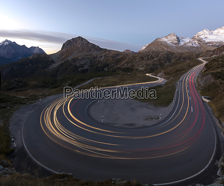 panoramic of lights of car traces