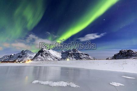 northern lights aurora borealis illuminate the