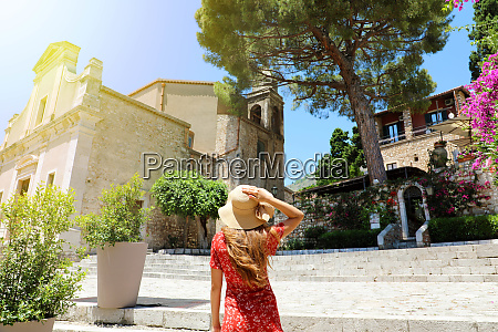 travel woman enchanted by typical italian