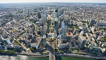 aerial view of financial district la