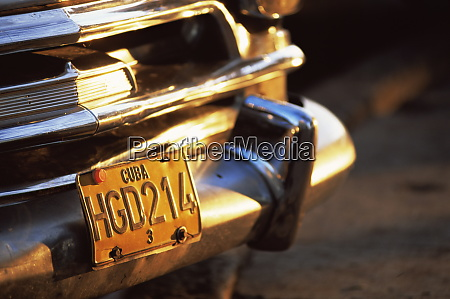 close up of chrome bumper and
