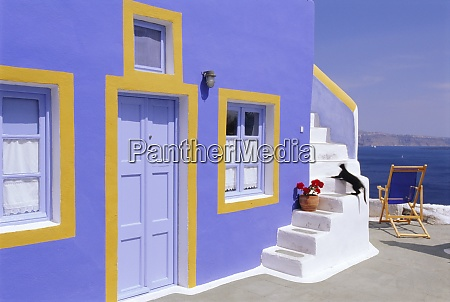 colourful house in thira town santorini