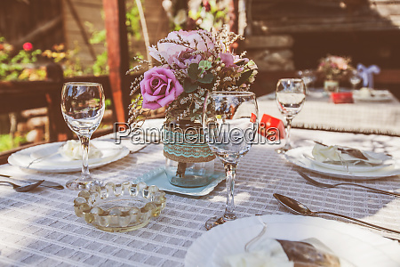 rustic style wedding table setting in