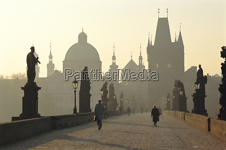 charles bridge prague czech republic grainy