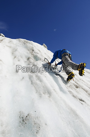 ice climber at mer de glace