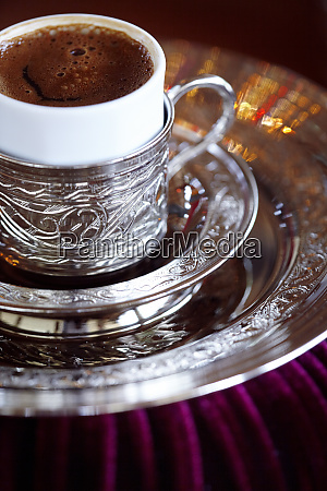 turkish coffee served in ornate silver