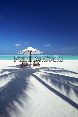 deck chairs and tropical beach maldives