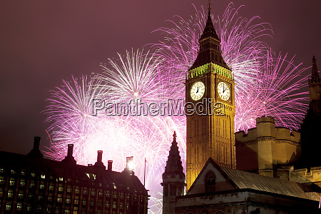 new year fireworks and big ben