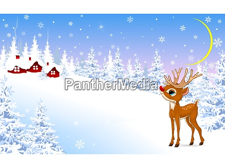 little fawn on a winter background